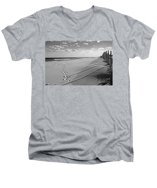 Men's V-Neck T-Shirt featuring the photograph Footprints In The Sand by Debra Fedchin