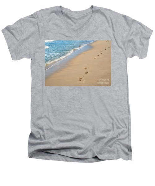 Footprints In The Sand Men's V-Neck T-Shirt by Juli Scalzi