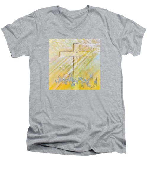 For The Cross Men's V-Neck T-Shirt by Cassie Sears