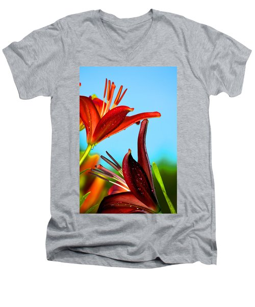 For The Love Of Lillies Men's V-Neck T-Shirt