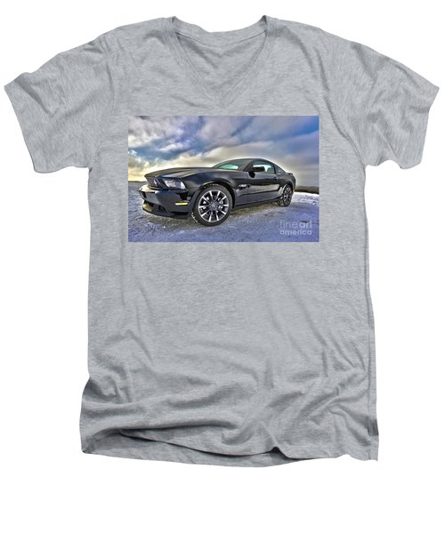Men's V-Neck T-Shirt featuring the photograph ford mustang car HDR by Paul Fearn