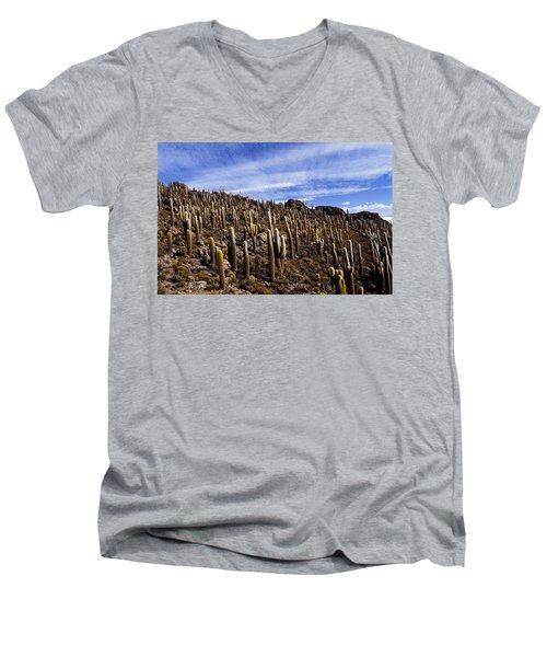 Forest Of Cacti Men's V-Neck T-Shirt by Lana Enderle