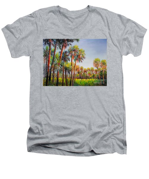 Men's V-Neck T-Shirt featuring the painting Forest Of Palms by Lou Ann Bagnall