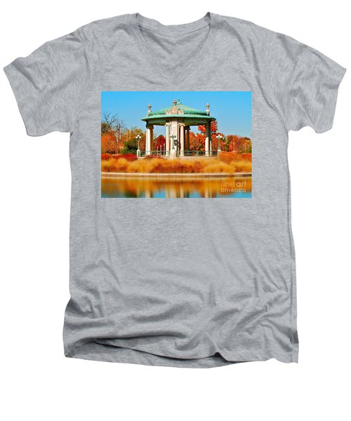 Men's V-Neck T-Shirt featuring the photograph Forest Park Gazebo by Peggy Franz