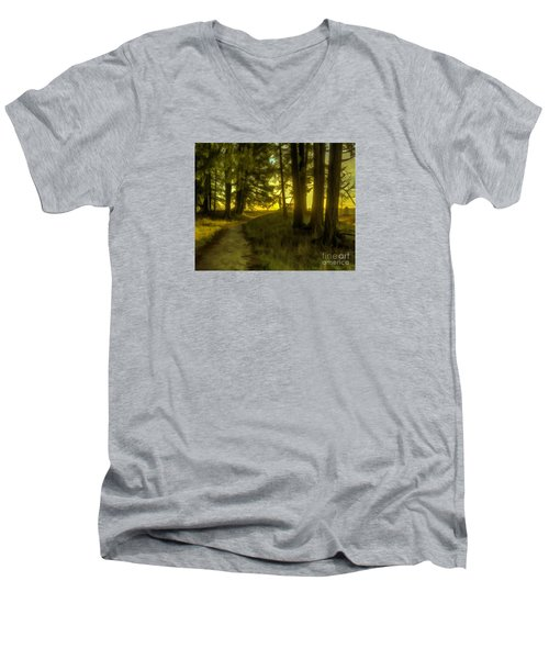 Forest Path Men's V-Neck T-Shirt by Jean OKeeffe Macro Abundance Art