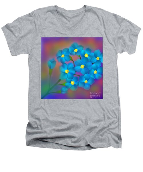 Forget- Me -not Flowers Men's V-Neck T-Shirt by Latha Gokuldas Panicker