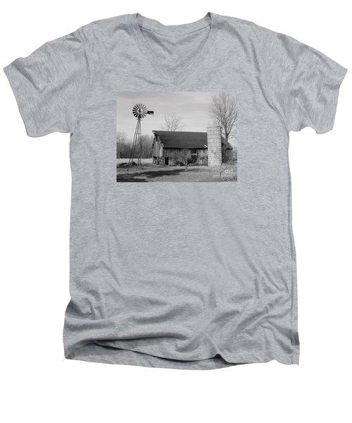 Forgotten Farm In Black And White Men's V-Neck T-Shirt by Judy Whitton