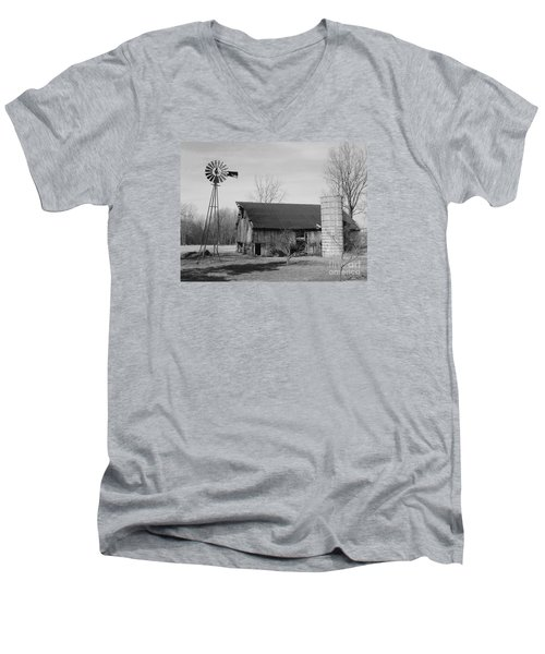 Forgotten Farm In Black And White Men's V-Neck T-Shirt
