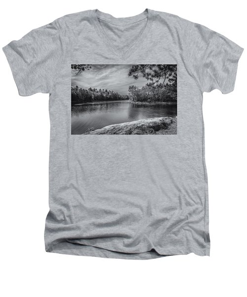 Men's V-Neck T-Shirt featuring the photograph Fork In River Bw by Mark Myhaver