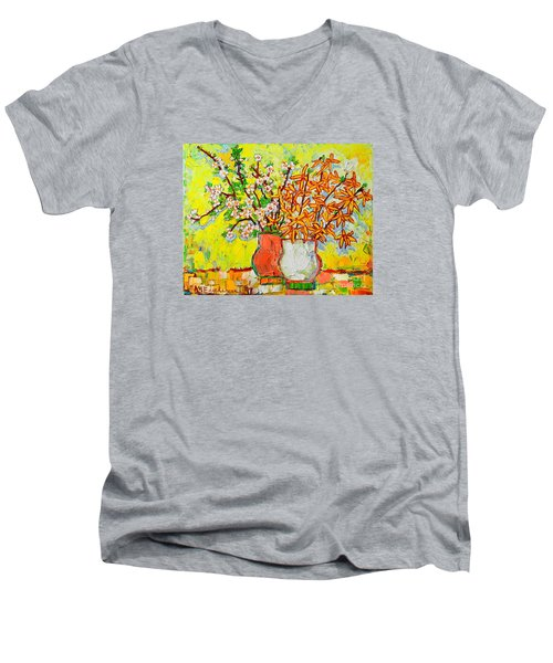 Forsythia And Cherry Blossoms Spring Flowers Men's V-Neck T-Shirt by Ana Maria Edulescu
