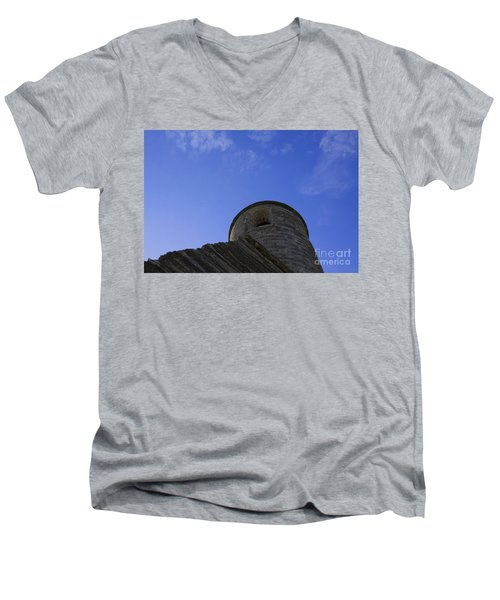 Men's V-Neck T-Shirt featuring the pyrography Fort Tower by Chris Thomas