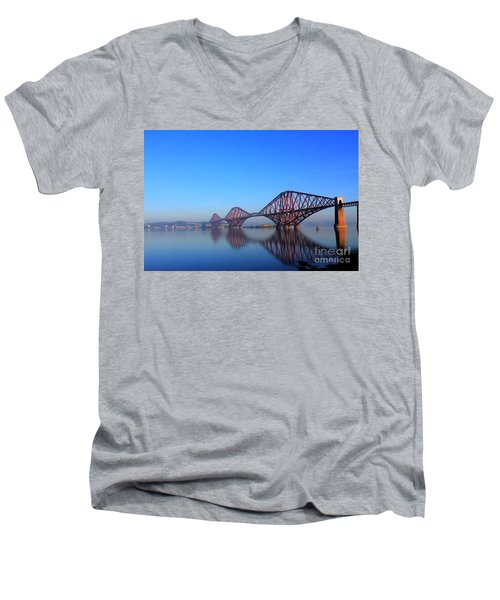Men's V-Neck T-Shirt featuring the photograph Forth Rail Bridge by David Grant