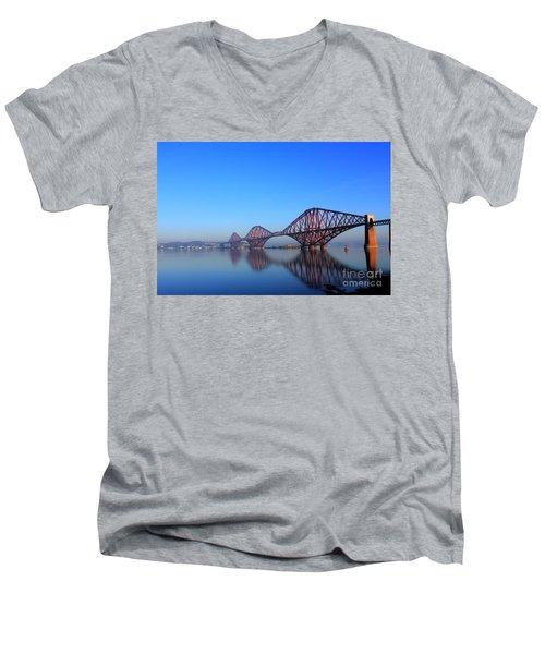 Forth Rail Bridge Men's V-Neck T-Shirt by David Grant