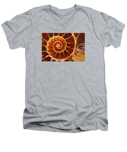 Fossil Nautilus Men's V-Neck T-Shirt by Alice Cahill