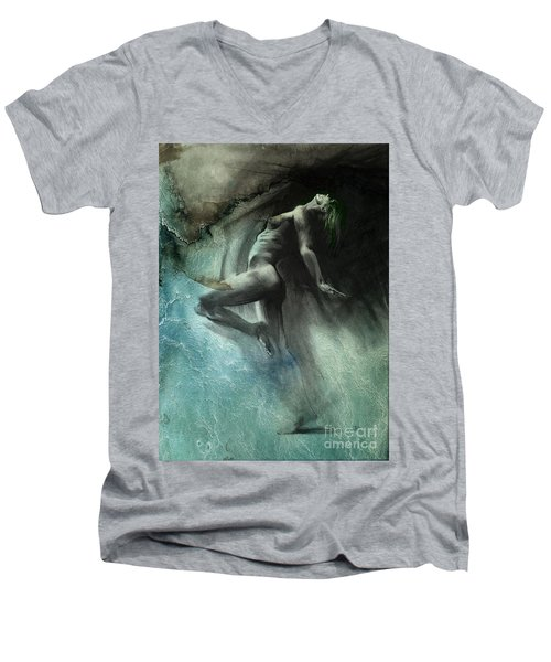 Men's V-Neck T-Shirt featuring the drawing Fount I - Textured by Paul Davenport