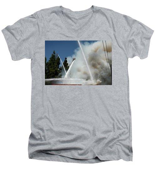 Four Alarm Blaze 003 Men's V-Neck T-Shirt by Lon Casler Bixby