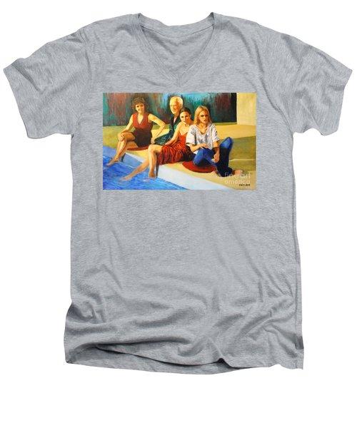 Four At A  Pool Men's V-Neck T-Shirt