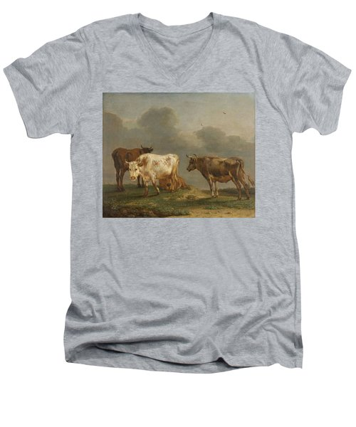 Four Cows In A Meadow Men's V-Neck T-Shirt