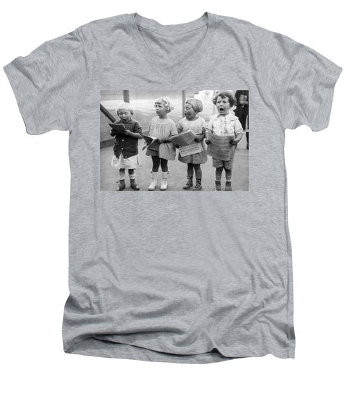 Four Young Children Singing Men's V-Neck T-Shirt
