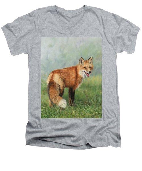 Fox  Men's V-Neck T-Shirt by David Stribbling