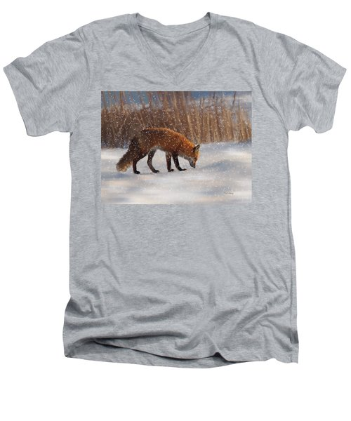 Fox In The Snow Men's V-Neck T-Shirt