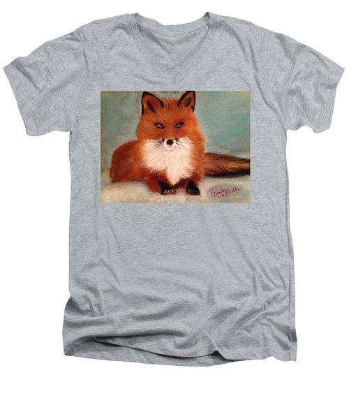 Fox In The Snow Men's V-Neck T-Shirt