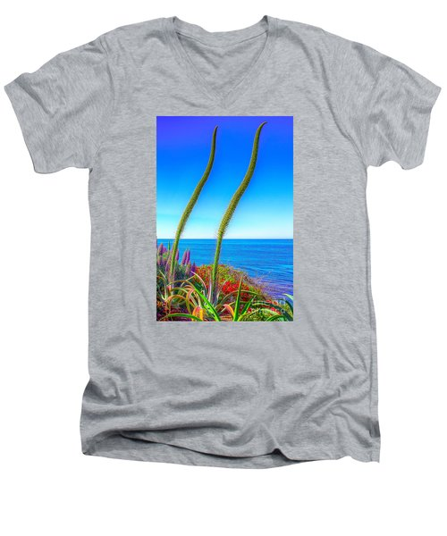 Foxtails On The Pacific Men's V-Neck T-Shirt by Jim Carrell