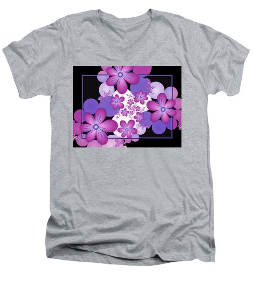 Fractal Flowers Modern Art Men's V-Neck T-Shirt