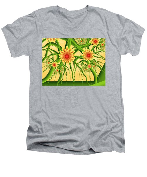 Fractal Summer Pleasures Men's V-Neck T-Shirt