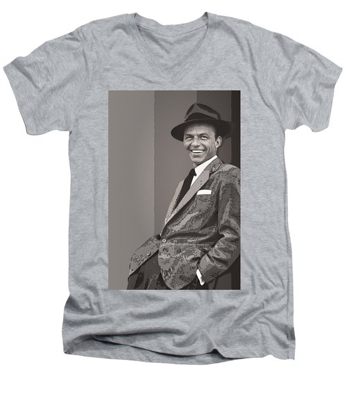 Frank Sinatra Men's V-Neck T-Shirt by Daniel Hagerman