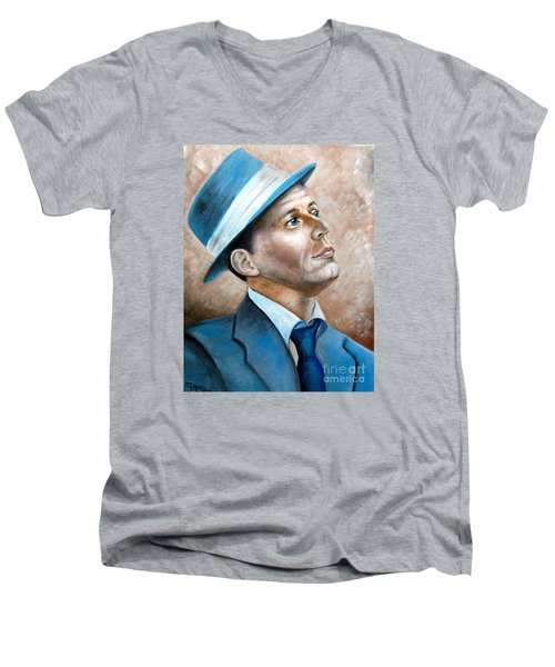 Men's V-Neck T-Shirt featuring the painting Frank Sinatra Ol Blue Eyes by Patrice Torrillo