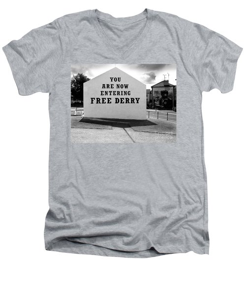 Free Derry Corner Men's V-Neck T-Shirt by Nina Ficur Feenan