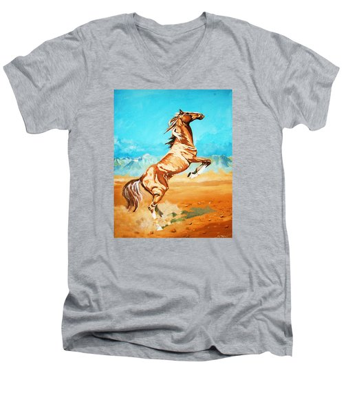 Men's V-Neck T-Shirt featuring the painting Free Spirit by Al Brown