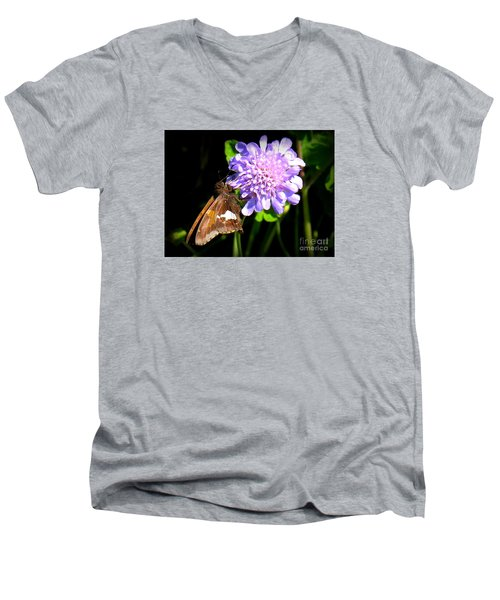 Men's V-Neck T-Shirt featuring the photograph Silver Spotted Skipper by Patti Whitten