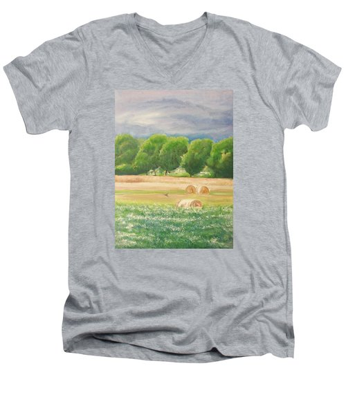 Men's V-Neck T-Shirt featuring the painting Freedom by Jane  See