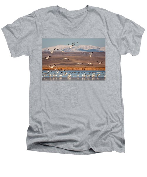 Men's V-Neck T-Shirt featuring the photograph Freeze Out Lake Morning by Jack Bell