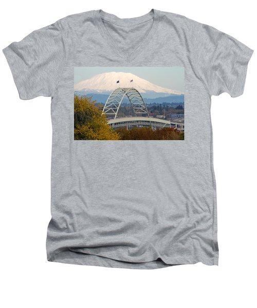 Fremont Bridge And Mount Saint Helens Men's V-Neck T-Shirt
