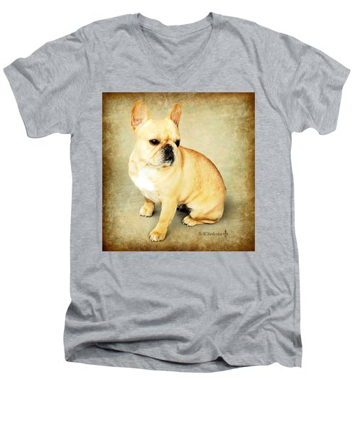 Men's V-Neck T-Shirt featuring the photograph French Bulldog Antique by Barbara Chichester
