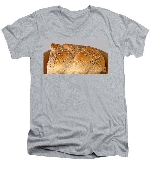 Fresh Challah Bread Art Prints Men's V-Neck T-Shirt by Valerie Garner