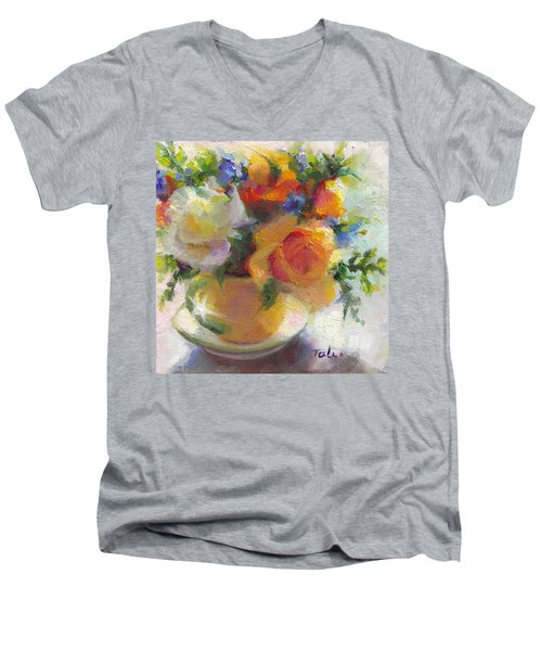 Fresh - Roses In Teacup Men's V-Neck T-Shirt