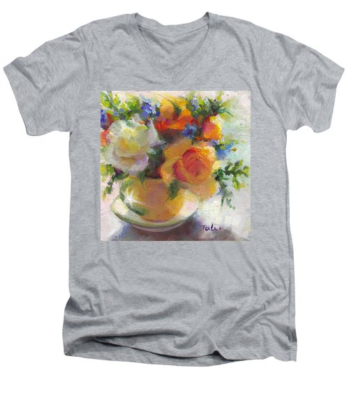 Fresh - Roses In Teacup Men's V-Neck T-Shirt