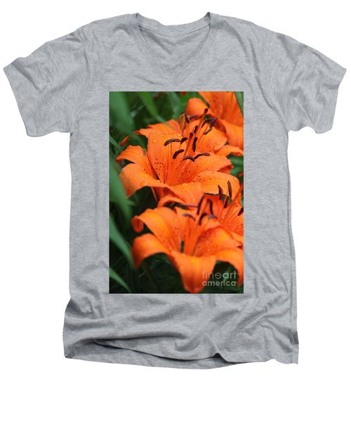 Freshly Showered Tiger Lilys Men's V-Neck T-Shirt