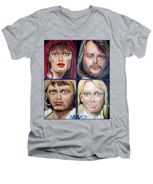 Men's V-Neck T-Shirt featuring the painting Frida Benny Bjorn Agnetha by Daniel Janda
