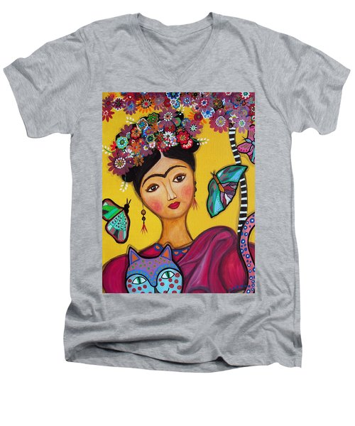 Frida Kahlo And Her Cat Men's V-Neck T-Shirt by Pristine Cartera Turkus