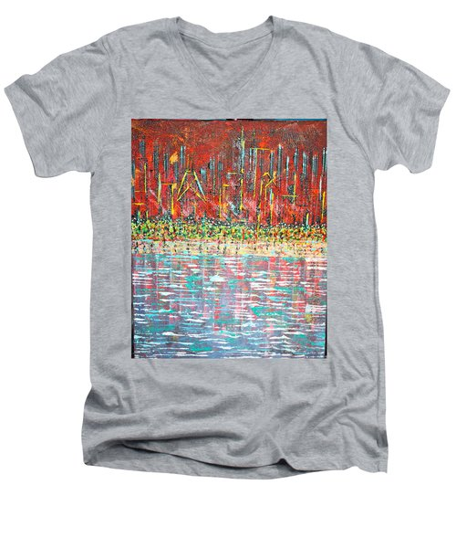 Friday At The Beach - Sold Men's V-Neck T-Shirt by George Riney
