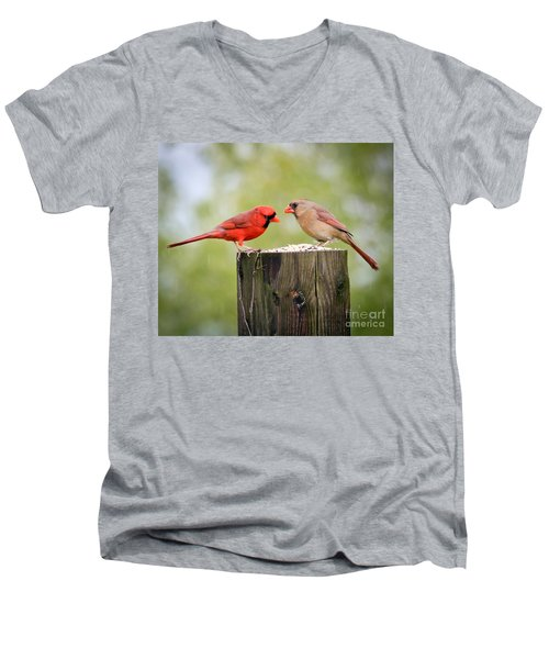 Friends In The Rain  Men's V-Neck T-Shirt by Kerri Farley