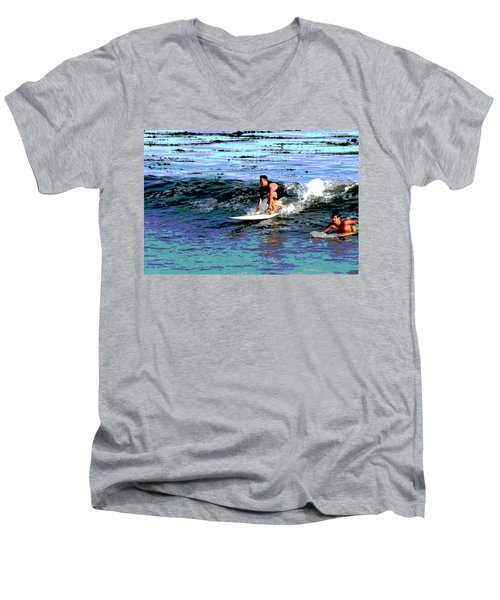 Friends Sharing A Wave Men's V-Neck T-Shirt