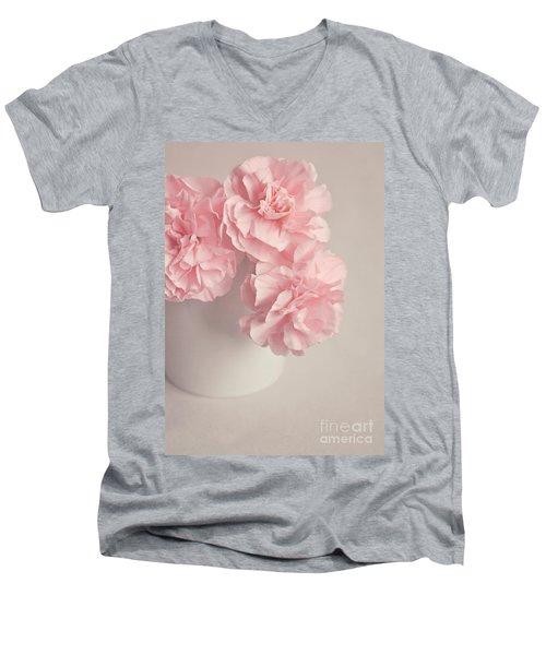 Frilly Pink Carnations Men's V-Neck T-Shirt