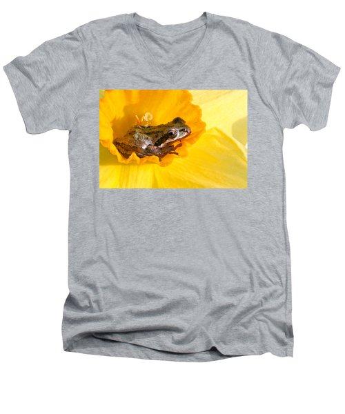 Frog And Daffodil Men's V-Neck T-Shirt