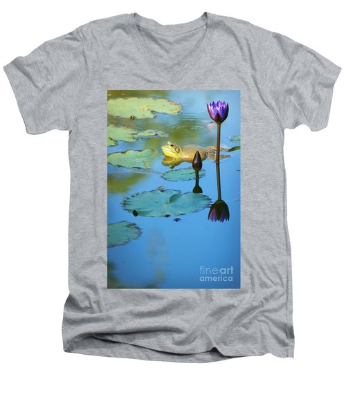 Men's V-Neck T-Shirt featuring the photograph Frog And Lily by Ellen Cotton
